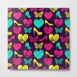 High Heels Grunge hearts and butterflies Metal Print