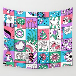 Inchies Doodle Design - Dark Pink Purple Blue - Spring Wall Tapestry