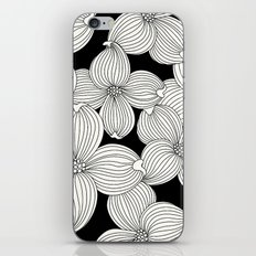 Dogwood Floral Linear: Ivory on Black  iPhone Skin