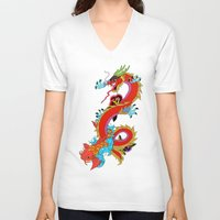 dragon V-neck T-shirts featuring dragon  by mark ashkenazi