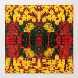 MODERN GARDEN DECORATIVE RED YELLOW DAFFODILS Canvas Print