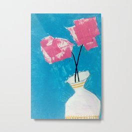 Carnations - an acrylic floral illustration in pink, blue, and yellow Metal Print