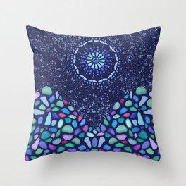 Sea Glass Mountain Night Mosaic Throw Pillow