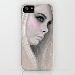 Cara Fashion Illustration Portrait iPhone Case