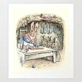 Josephine Rabbit in the Kitchen Art Print