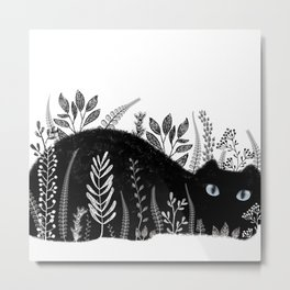 Garden Cat Black And White Metal Print