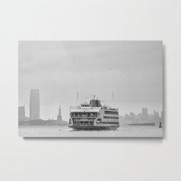 Statue Of Liberty & Ferry Metal Print