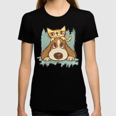 Dog Black Womens Fitted Tee SMALL