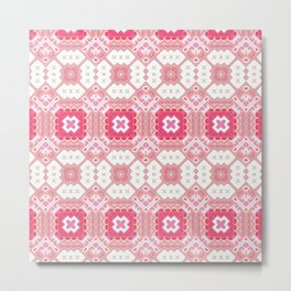 Quilted Pink Fractal Metal Print