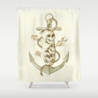 pirates Shower Curtains featuring Three Missing Pirates by Mike Koubou