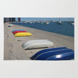 Chicago Shoreline, Skyline, Boats Rug