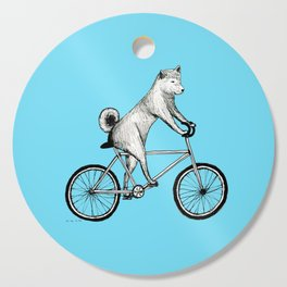 Shiba Inu Riding a Bicycle Cutting Board