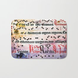Choral Book Middle Ages - Music - Vintage Grunge Texture Bath Mat