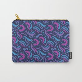 Swirls and Dots Abstract Unicorn Colors on Navy Blue Carry-All Pouch