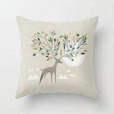 Deer Forest Throw Pillow