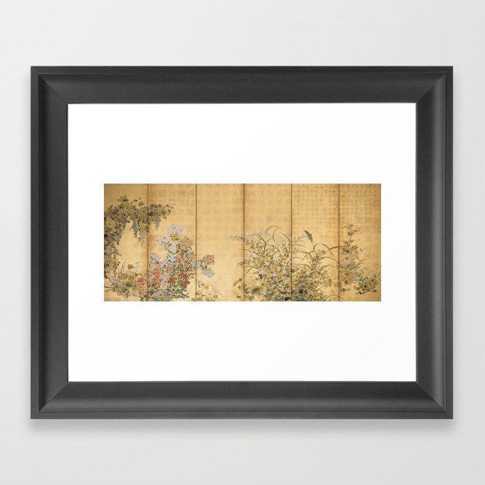 Japanese Edo Period Six-Panel Gold Leaf Screen - Spring and Autumn Flowers Gerahmter Kunstdruck