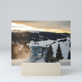 Snowcat at Sunset: Vail Ski Resort Mini Art Print