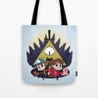gravity falls Tote Bags featuring Gravity Falls by Matt Tichenor