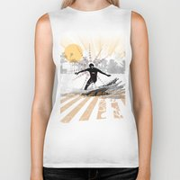 surfer Biker Tanks featuring surfer by michael cheung