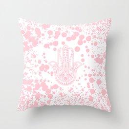 Modern blush pink confetti Hamsa Hand Of Fatima Throw Pillow