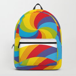 candy lollipop with bow, colorful spiral candy cane Backpack