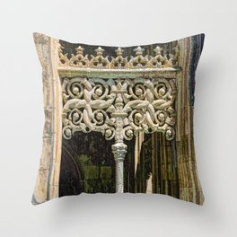 Gothic tracery at Batalha Throw Pillow
