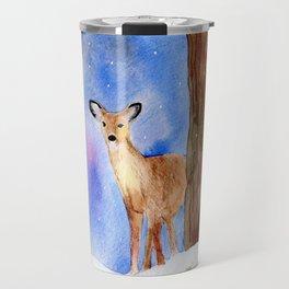 Deer in Forest Winter Painting Travel Mug