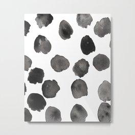 Black and White Watercolor Spots Metal Print