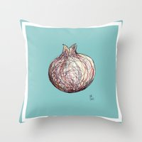 pomegranate Throw Pillows featuring Pomegranate by Ursula Rodgers