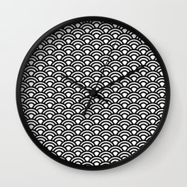 Nippon Wave Japanese Black Seigaiha Wall Clock