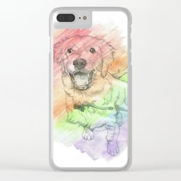 Golden Retriever Puppy Drawing Clear iPhone Case