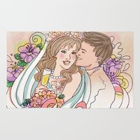 wedding Area & Throw Rugs featuring Wedding by Andreia Treptow Illustrations