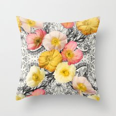 Collage of Poppies and Pattern Throw Pillow