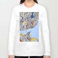 mondrian Long Sleeve T-shirts featuring Lisbon mondrian by Mondrian Maps