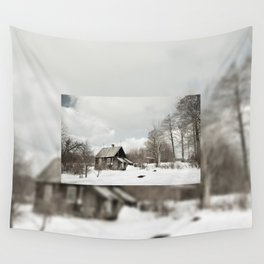 dilapidated wooden house cottage in winter Wall Tapestry