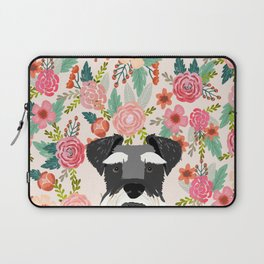 Schnauzer dog head floral background flower schnauzers pet portrait Laptop Sleeve