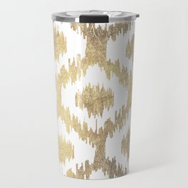 Modern white hand drawn ikat pattern faux gold Travel Mug