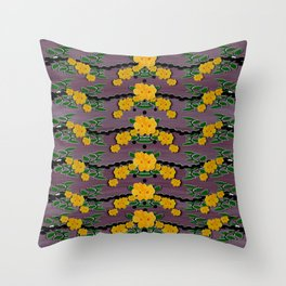 Plumeria and frangipani temple flowers ornate Throw Pillow