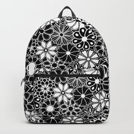 Mid Century Hawaiian Flower Print - Black and White Backpack
