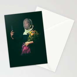 Noble Girl Athlete with Bouquet of Flowers  Stationery Cards