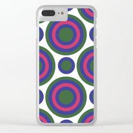 Circle Circle:  Kelly Green, Blue + Fuchsia Clear iPhone Case