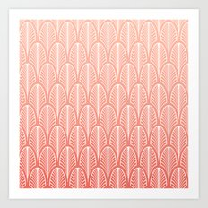 Peach Art Deco Pattern | Blush Pink Art Art Print