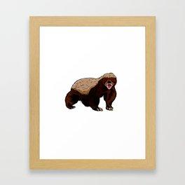 Honey badger illustration Framed Art Print