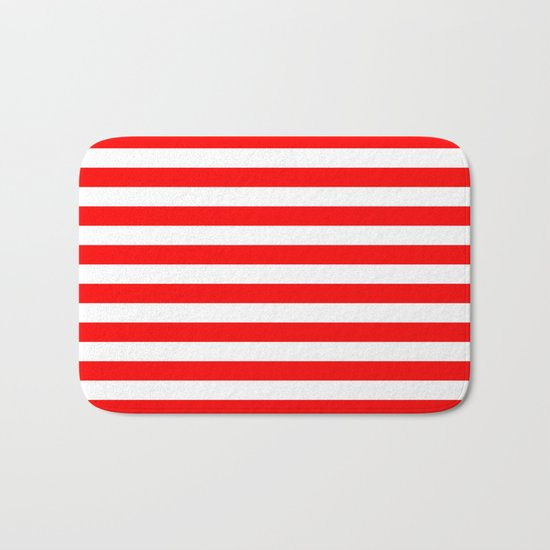 Horizontal Stripes (Red/White) Bath Mat