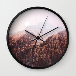 Warm Forest Moon Wall Clock