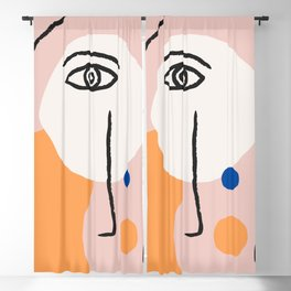 Abstract Art, Line Portrait, Matisse Picasso Style, Neutral Red Abstract Print, Line Drawing, Line D Blackout Curtain