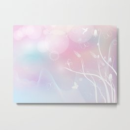 floral background with flowers, leaves, bird and branches of blooming tree. Stylized garden in tints Metal Print