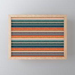 serape southwest stripe - orange & dark teal Framed Mini Art Print