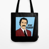will ferrell Tote Bags featuring Stay Classy - Ron Burgundy by Buby87