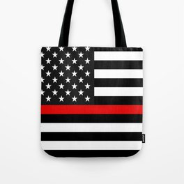 Thin Red Line American Flag Tote Bag